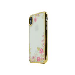Apple iPhone X - Gumiran ovitek (TPUE) - zlat rob - roza rožice