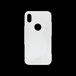 Apple iPhone X / XS - Gumiran ovitek (TPU) - belo-prosojen SLine