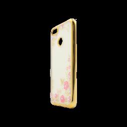 Huawei P9 Lite mini - Gumiran ovitek (TPUE) - zlat rob - roza rožice