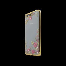 Huawei Honor 9 - Gumiran ovitek (TPUE) - zlat rob - roza rožice