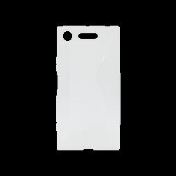 Sony Xperia XZ1 - Gumiran ovitek (TPU) - belo-prosojen CS-Type