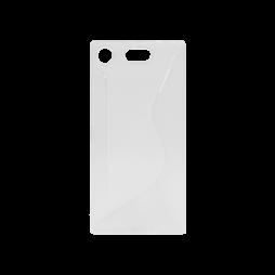 Sony Xperia XZ1 Compact - Gumiran ovitek (TPU) - belo-prosojen CS-Type