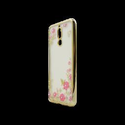 Huawei Mate 10 Lite - Gumiran ovitek (TPUE) - zlat rob - roza rožice