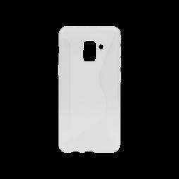Samsung Galaxy A8 (2018) - Gumiran ovitek (TPU) - belo-prosojen CS-Type