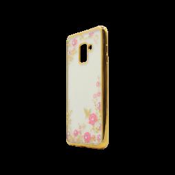 Samsung Galaxy A8 (2018) - Gumiran ovitek (TPUE) - zlat rob - roza rožice