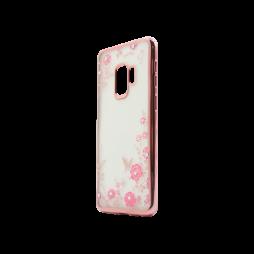 Samsung Galaxy S9 - Gumiran ovitek (TPUE) - roza rob - roza rožice