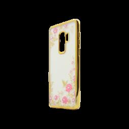 Samsung Galaxy S9+ - Gumiran ovitek (TPUE) - zlat rob - roza rožice
