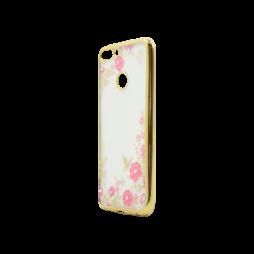 Huawei P Smart - Gumiran ovitek (TPUE) - zlat rob - roza rožice