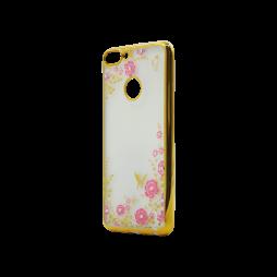 Huawei Honor 9 Lite - Gumiran ovitek (TPUE) - zlat rob - roza rožice