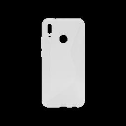 Huawei P20 Lite - Gumiran ovitek (TPU) - belo-prosojen CS-Type