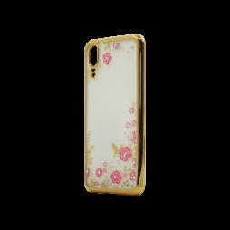Huawei P20 - Gumiran ovitek (TPUE) - zlat rob - roza rožice
