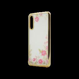 Huawei P20 Pro - Gumiran ovitek (TPUE) - zlat rob - roza rožice