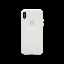 Apple iPhone X - Gumiran ovitek (TPU) - belo-prosojen MATT