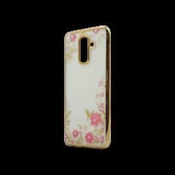 Samsung Galaxy A6 (2018) - Gumiran ovitek (TPUE) - zlat rob - roza rožice