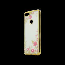 Huawei Y7 Prime (2018) - Gumiran ovitek (TPUE) - zlat rob - roza rožice