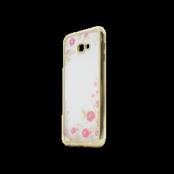Samsung Galaxy J4+ (2018) - Gumiran ovitek (TPUE) - zlat rob - roza rožice