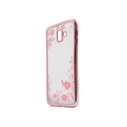 Samsung Galaxy J6+ (2018) - Gumiran ovitek (TPUE) - roza rob - roza rožice