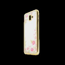 Samsung Galaxy J6+ (2018) - Gumiran ovitek (TPUE) - zlat rob - roza rožice