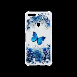 Huawei Y7 Prime (2018) - Gumiran ovitek (TPUP) - Blue butterfly