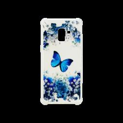 Samsung Galaxy A8 (2018) - Gumiran ovitek (TPUP) - Blue butterfly