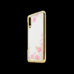 Samsung Galaxy A7 (2018) - Gumiran ovitek (TPUE) - zlat rob - roza rožice