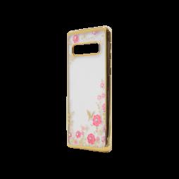 Samsung Galaxy S10 - Gumiran ovitek (TPUE) - zlat rob - roza rožice