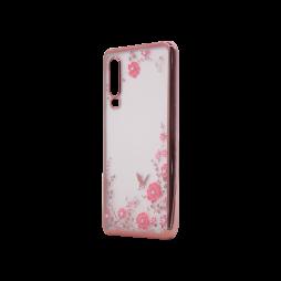 Huawei P30 - Gumiran ovitek (TPUE) - roza rob - roza rožice