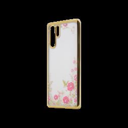 Huawei P30 Pro - Gumiran ovitek (TPUE) - zlat rob - roza rožice