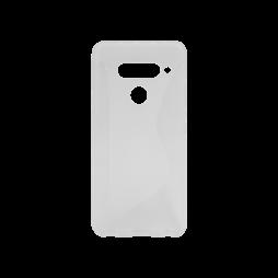 LG V40 ThinQ - Gumiran ovitek (TPU) - belo-prosojen CS-Type