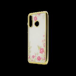 Huawei P30 Lite - Gumiran ovitek (TPUE) - zlat rob - roza rožice