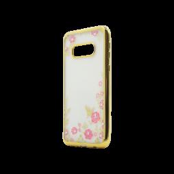 Samsung Galaxy S10e - Gumiran ovitek (TPUE) - zlat rob - roza rožice
