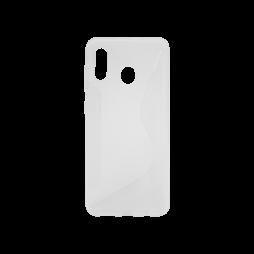 Samsung Galaxy A40 - Gumiran ovitek (TPU) - belo-prosojen CS-Type