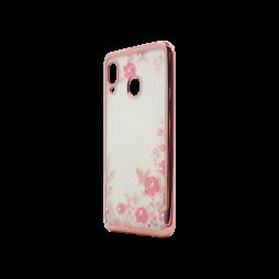 Samsung Galaxy A20 / A30 - Gumiran ovitek (TPUE) - roza rob - roza rožice