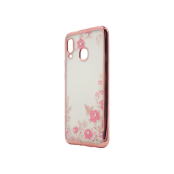 Samsung Galaxy A40 - Gumiran ovitek (TPUE) - roza rob - roza rožice