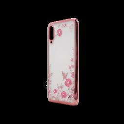 Samsung Galaxy A70 - Gumiran ovitek (TPUE) - roza rob - roza rožice
