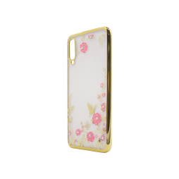 Samsung Galaxy A70 - Gumiran ovitek (TPUE) - zlat rob - roza rožice