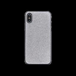 Apple iPhone X/XS - Gumiran ovitek z bleščicami (PCB) - srebrna