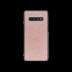 Samsung Galaxy S10 - Gumiran ovitek z bleščicami (PCB) - roza-zlata