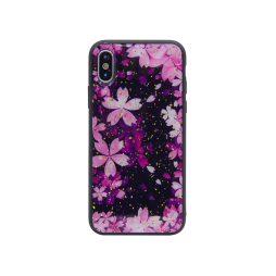 Apple iPhone X/XS - Gumiran ovitek (TPUP) - Pink Flowers