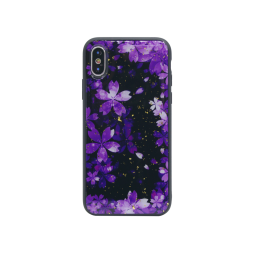 Apple iPhone X/XS - Gumiran ovitek (TPUP) - Purple Flowers