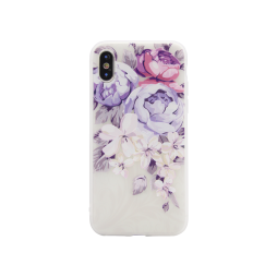 Apple iPhone X/XS - Gumiran ovitek (TPUP) - Purple Roses