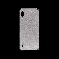 Samsung Galaxy A10 - Gumiran ovitek z bleščicami (PCB) - srebrna