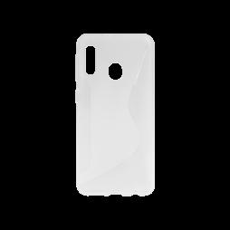 Samsung Galaxy A20e - Gumiran ovitek (TPU) - belo-prosojen CS-Type