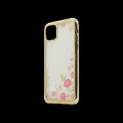 Apple iPhone 11 Pro Max - Gumiran ovitek (TPUE) - zlat rob - roza rožice