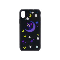 Apple iPhone X/XS - Ovitek iz gume in stekla z lučko (TPUG) - The night sky (light)