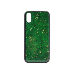 Apple iPhone X/XS - Ovitek iz gume in stekla (TPUG) - Green