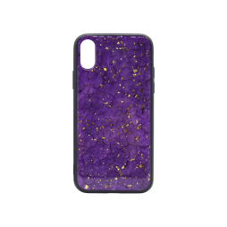 Apple iPhone X/XS - Ovitek iz gume in stekla (TPUG) - Purple