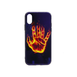 Apple iPhone X/XS - Ovitek iz gume in stekla (TPUG) - Hand (shiny blue)