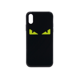Apple iPhone X/XS - Ovitek iz gume in stekla (TPUG) - Eyes Black Yellow