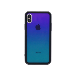 Apple iPhone X/XS - Ovitek iz gume in stekla (TPUG) - Blue-Green Ombre